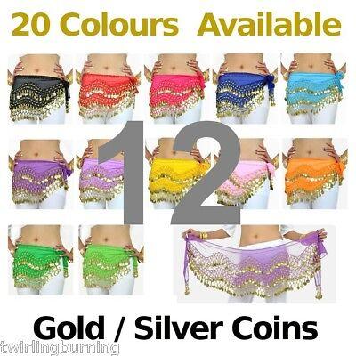 12-Coin-Belts-Belly-Dance-Hip-Scarf-Skirt-Wholesale-Bulk-lot-AB01