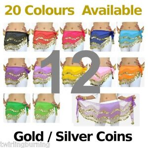 12-Belly-Dance-Coin-Belt-Hip-Scarf-Skirt-Wholesale-lot