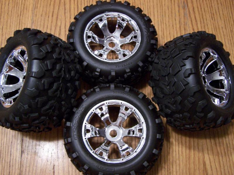 4- 5309 Traxxas 3.3 Revo Maxx Tires & 17mm Geode Wheels T-maxx Summit 17 E-revo