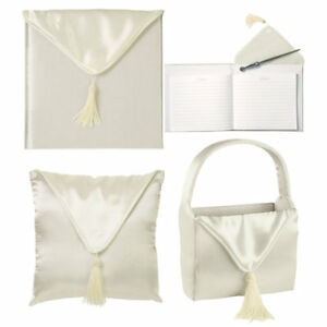 Wilton-Ivory-Wedding-Day-4-Piece-Ensemble-Album-Guestbook-Flower-Basket-Pillow