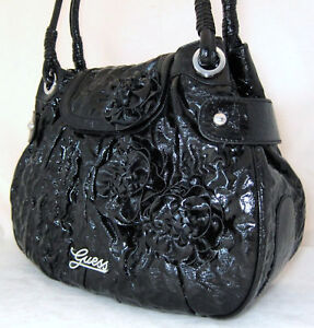 GUESS Bonita Patent Bag Purse Tote Handbag Sac Flower