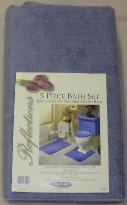5 Piece Bath Rug Contour Lid Tank Lid Tank Cover Set