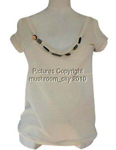 Girlish Marni Acrylic Beaded Beige Short Sleeves Top 40