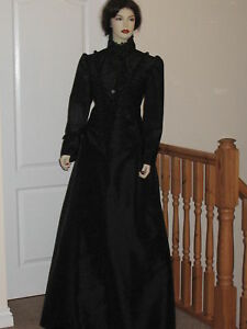 VICTORIAN-EDWARDIAN-STEAMPUNK-STYLE-MATINEE-OUTFIT-Sizes-20-24-Black