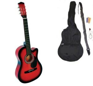NEW-RED-CA-Acoustic-Guitar-GIGBAG-STRAP-TUNER-LESSON