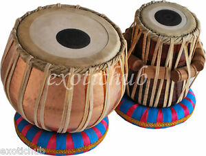 PROFESSIONAL TABLA DRUMS SET~4 KG HAMMERED COPPER BAYAN~SHESHAM WOOD DAYAN
