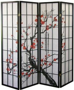 4 & 3 Panel Wood Room Divider Screen Flowered Shoji