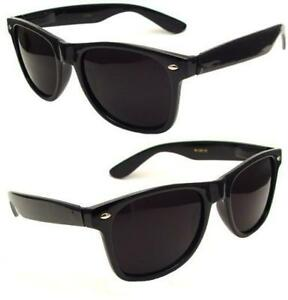 Retro 80s Wayfarer Gloss Black Sunglasses Dark Lenses