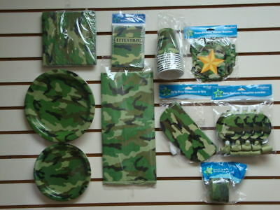 MILITARY ARMY CAMOUFLAGE BIRTHDAY PARTY SET - 10 PACKAGES  PARTY SUPPLIES