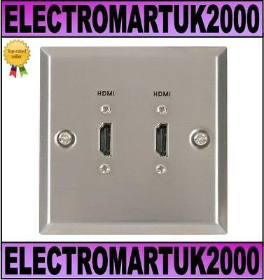HDMI DOUBLE STEEL WALL PLATE SOCKET BRUSHED SILVER