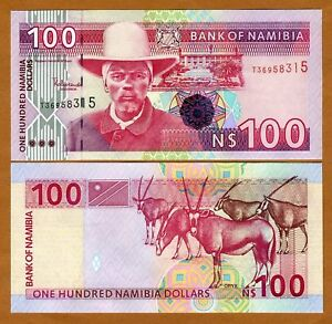 Namibia-Africa-100-dollars-ND-1999-P-9-9b-UNC