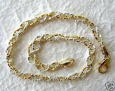 "Italy Sterling Silver & 14k Gold Ankle Bracelet 9"""
