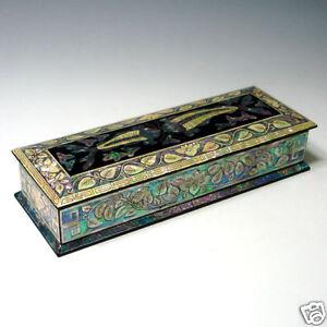 mother of pearl inlay fish desk wood pen pencil brush holder lid case box gift ebay. Black Bedroom Furniture Sets. Home Design Ideas
