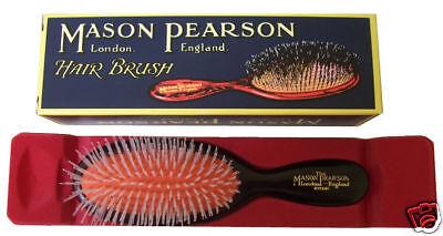 Mason Pearson Hair Brush Pocket Nylon N4 Dark Ruby
