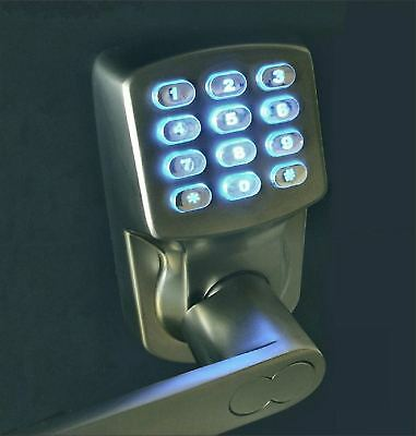 electronic keyless door lock set satin nickel for left hinged doors only ebay. Black Bedroom Furniture Sets. Home Design Ideas