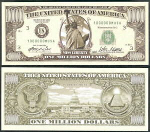 MISS-LIBERTY-MILLON-DOLLAR-BILL-LOT-OF-2-BILLS