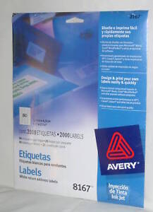 avery white return address labels 8167 package 2000 new with fast