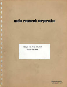 AUDIO-RESEARCH-D-100A-OPERATION-AND-SERVICE-MANUAL
