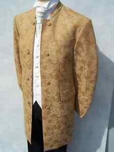 STEAM-PUNK-STEAMPUNK-MENS-GOLD-BROCADE-NEHRU-WEDDING-DRESS-SUIT-JACKET-COAT