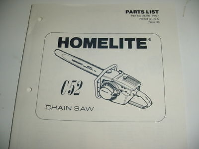 Homelite C52 C-52 Chainsaw Parts List -------- Manual 37