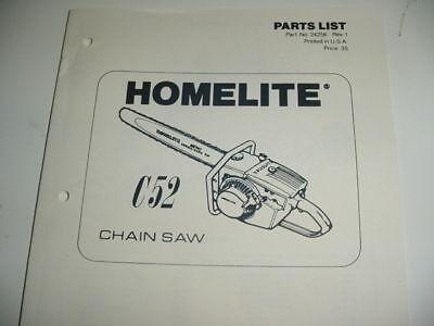 Homelite C52 C-52 Chainsaw Parts List -------- Manual 37