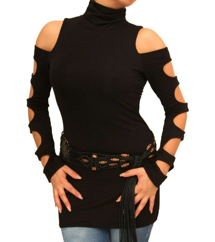 Black Cut Out Roll Neck Stretchy Top - Long Sleeve