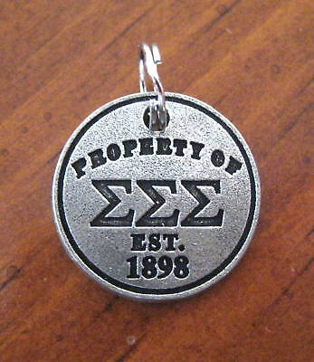 Property Of Tri Sigma Sigma Sigma Est 1898 Pewter Charm Jewelry Pendant
