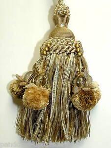 Luxury Bead Ribbon Pom Pom Key Tassel - Curtain Fabric