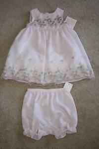 INFANT-GIRLS-BONNIEBABY-PINK-FLORAL-DRESS-w-OVERLAY-Size-24M-New-With-Tags