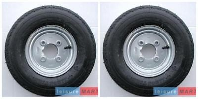 A pair 400 X 8 Inch 6 PLY Trailer wheels and tyres 4 inch pcd