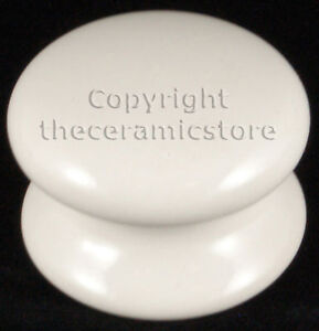 3 Classic White Ceramic Porcelain Large Door knobs 50mm