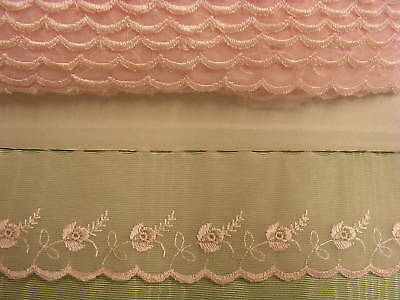 Embroidered Organza Lace  Pink  50mm wide - 17 mts
