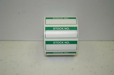 350 Labels Of 1-1/2 X 5/8 Green Stock No. Inspection Quality Control Rolls
