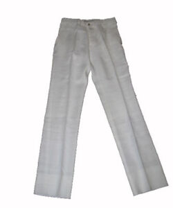 $325 NWT RALPH LAUREN PURPLE LABEL MENS SOLID CREAM LINEN ITALY DRESS PANTS 28