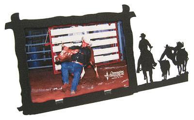 Steer Wrestling 5x7 Horizontal Black Metal Picture Frame