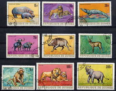GUINEA 1968 AFRICAN ANIMALS SET OF 9 STAMPS - $4 VALUE!