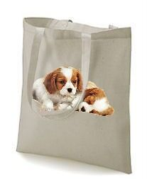 Two Cavalier King Charles Spaniel Puppy Design Tote Bag