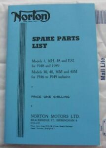 Z194649-Historic-SPARE-PARTS-LIST-Norton-Model-1-16H-18-ES2-30-NEW