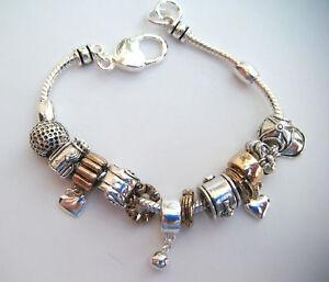 Golf-Euro-Style-Charm-amp-Slider-Bracelet-Golf-Bag-Shoes-Ball-Silver-Goldtone-8-034