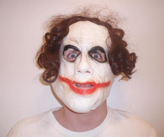 Adult Batman The Dark Knight Joker 3/4 Mask With Hair Halloween
