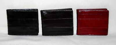 Men's Thin Eel Skin Bifold Wallet Eelskin Wallet Brown, Black Or Burgandy