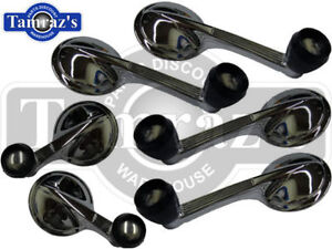 55-57-Chevy-Window-amp-Vent-Crank-Handle-Set-Black-Knob