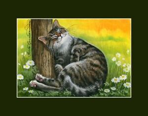 Tabby-Cat-ACEO-Warm-At-Last-Print-by-I-Garmashova