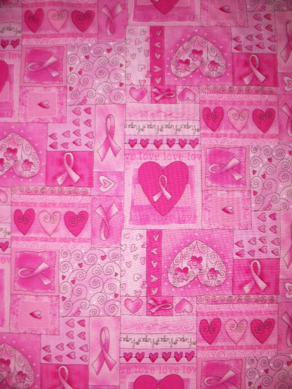 Breast Cancer Hearts Inspirational We Love We Care Cotton Fabric Bthy