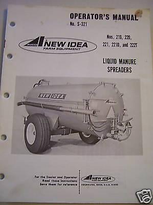 Original New Idea Operators Parts Manual-liq Manure Spreader