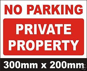 PRIVATE PROPERTY NO PARKING SIGN RIGID PLASTIC