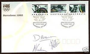 AUSTRALIA-1992-OLYMPIC-GAMES-FDC-SIGNED-WEIGHTLIFTERS-Kettner-Goodman-Brown