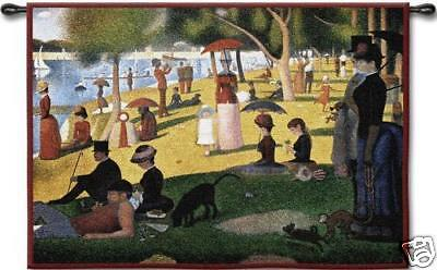 """Sunday Afternoon By Seurat Impressionist Wall Tapestry 53""""x34"""""""