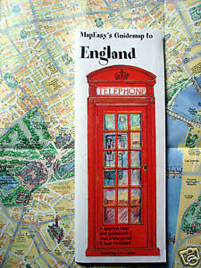 NEW-2004-MAP-of-ENGLAND-MapEZ-Guide-Rip-Proof-w-Detail-of-London-Hotels-Museums