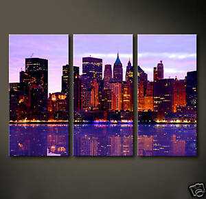 manhattan skyline leinwand bilder bild usa amerika deko kunstdruck poster blau ebay. Black Bedroom Furniture Sets. Home Design Ideas